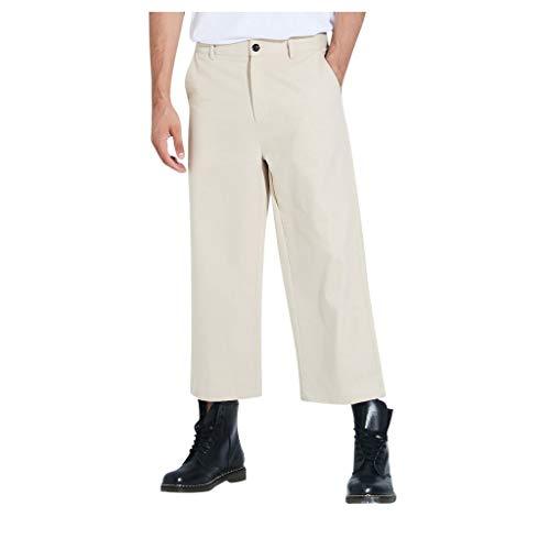 Mwzzpenpenpen Men's Stretch Straight Wide Legged Trousers Casual Solid Color Pure Cotton Lightweight Sweatpants