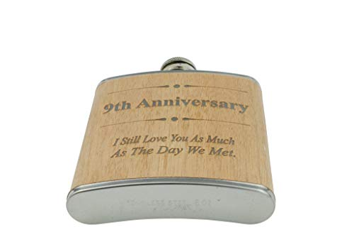 9th Anniversary Hip Flask 9 Year Anniversary Gift For Him