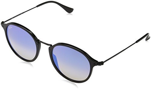 Ray-Ban  RB2447 901/4O Non-Polarized Sunglasses, Black/Blue Gradient Flash, 52 - Ray Gradient Blue Ban Flash