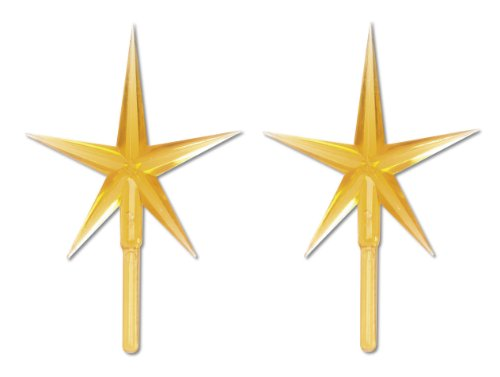 Darice P0681 2-Piece Ceramic Tree Star Ornament, Gold (Replacement Christmas Ceramic Part Tree Star)