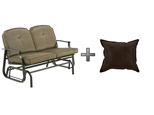Mainstay* Durable, Powder-Coated Steel FrameOutdoor Glider Bench 500 lbs Capacity in Brown, Seats 2 Plus Faux Leather Pillow - Bundle Set