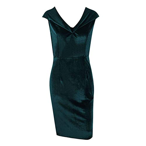 EOWEO Anniversary celebration Skirt Dress Womens Ladies Velvet Off Shoulder Split Maxi Cocktail Party Long Midi Dresses(Large,Green)