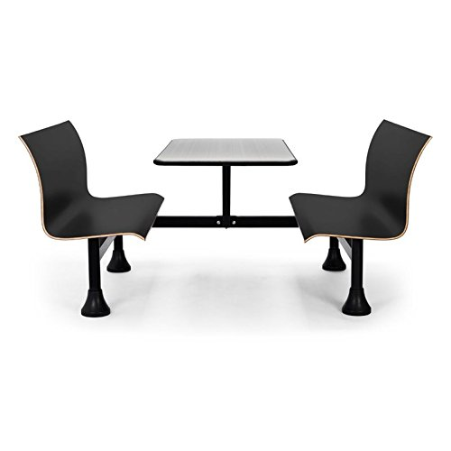 OFM 1006W-BLK Retro Bench with Stainless Steel Table Top and Wall (Booth Bench Seat)