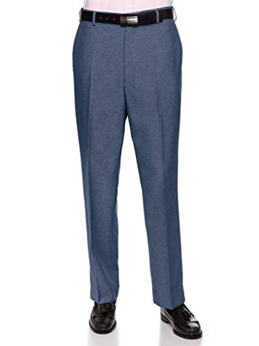 RGM Men's Flat-Front Heather Poly Rayon Dress Slack Heather Blue 32 Medium -