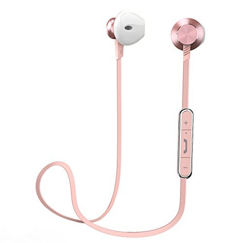 - Bluetooth Earphones, Wireless Earbuds Sports Earphones in Ear Headset with 7 Hours Playtime (IPX4 Splashproof, Stereo Bass, Magnetic Aluminum Design, CVC 6.0 Noise Cancelling (Pink)