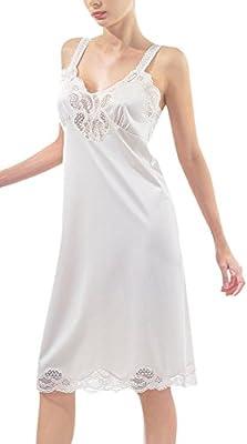 Women's Lace Detail Full Slip. Sleepwear for Women. Loungewear Dress. Nightgown.