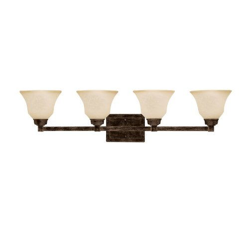 Kichler 5391CST Langford 4LT Vanity Fixture, Canyon Slate Finish with Dusty Citrine Glass - Dusty Citrine Glass