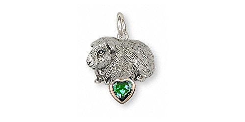 Guinea Pig Jewelry Silver And Gold Guinea Pig Charm Handmade Piggie Jewelry GP7-TNSP