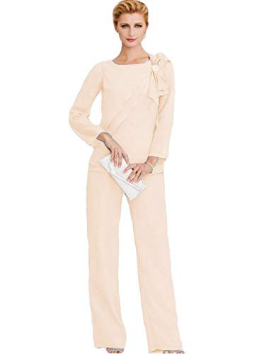 The Peachess Mother of The Bride Pant Suits Long Sleeve Wedding Guest Two Pieces Groom Mother Outfit Champagne