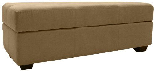 Microfiber Suede Upholstered Tufted Padded Hinged Storage Ottoman Bench, 48 by 19 by 18