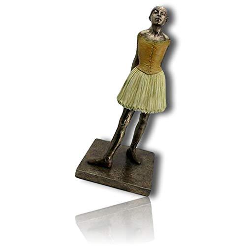 mySimpleProduct.Shop Little Dancer Dancing Ballerina Ballet Girl in Dance Pose w/Arms Back & Head Up Wearing Dress Costume Character by Edgar Degas Statue Figurine Sculpture + Certificate -