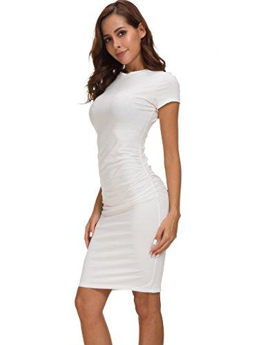 Robe Robe Casual t Blanc Ruch Bodycon Missufe Fourrea Femme YxOwpR