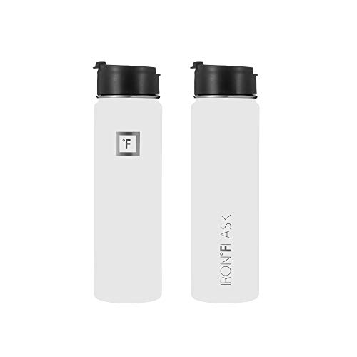 Iron Flask Sports Water Bottle - 14oz,18oz,22oz,32oz,40oz,64oz,3 Lids (Straw Lid),Vacuum Insulated Stainless Steel, Modern Double Walled, Simple Thermo Mug, Hydro Metal Canteen (22 Oz, Winter White)