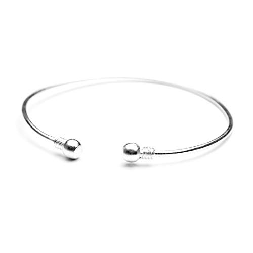 HUNO Minimalist Metal Punk Spiral Coil Upper Arm Cuff Open Arm Bracelet Armlet Adjustable Hammered Wrap Armband Bangle for Women (Bead Silver)