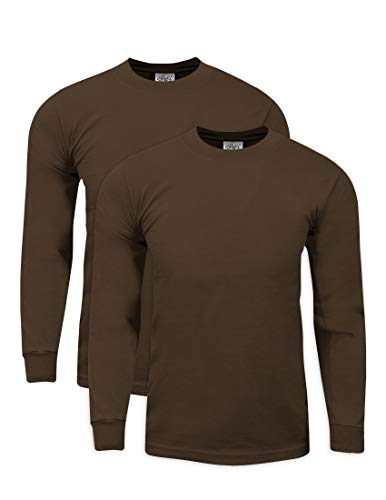Shirts Tee Fireman (Shaka Wear MHL04_3T Max Heavy Weight Cotton Long Sleeve T-Shirt Brown 3X-Tall 2pk)