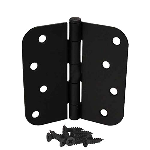 "(Pack of 6) 4 Inch Matte Black Hager Door Hinges with 5/8"" Radius Corners"