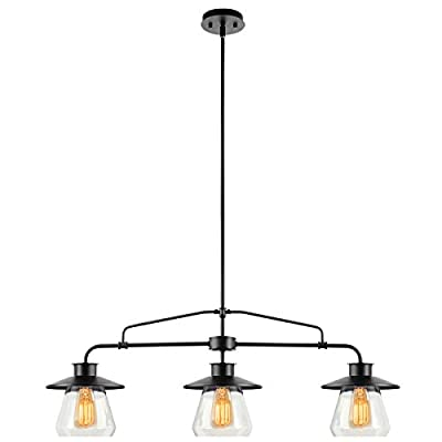 Globe Electric 64845 3 Light Vintage Hanging Island Pendant Light Fixture, Oil Rubbed Bronze Finish with Clear Glass Shades