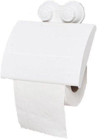 EVIDECO 9701100 Toilet Tissue Roll Dispenser and Holder with 2 Screw-Top Suction Cups White