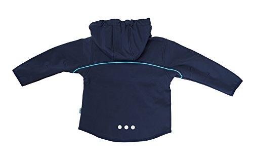 ELKA Softshelljacke 3-lagig für Kinder mit Kapuze und Fleecefutter, warm, wasserabweisend, winddicht, atmungsaktiv (128, Marine/Hellblau)