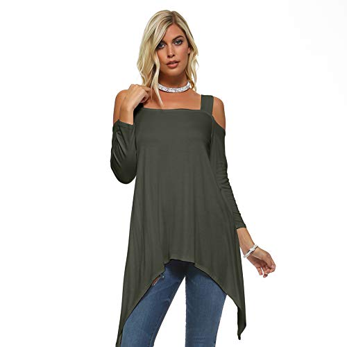 Isaac Liev Flowy Double Wide Strap Cutout Cold Shoulder Tunic Top (Large, Olive)