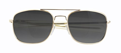 CampCo HUMVEE HMV-57B-GOLDPolarized Bayonette Style Military Sunglasses with Gray Lens and Gold Frame, 57mm