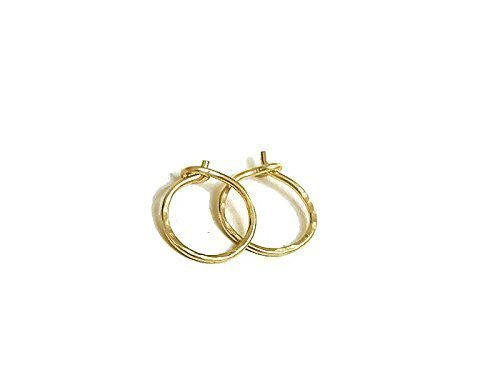 14K Solid Yellow Gold Textured Endless Hoop Earrings Tiny 10mm Classic Hoops 14k Yellow Hugs