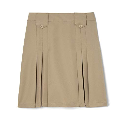 (French Toast  Girls' Front Pleated Skirt with Tabs, Khaki, 8,Big Girls)