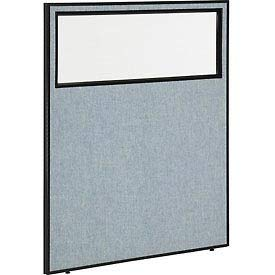 "48-1/4""W x 60""H Office Partition Panel with Partial Window, Blue"