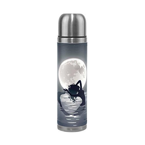 Alaza Mermaid Lune double paroi en acier inoxydable Thermos Bouteille d'eau 481,9gram anti-fuite Bouteille thermos pour boissons chaudes et froides