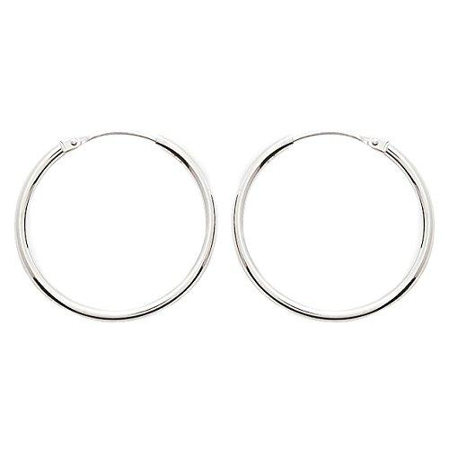 So Chic Bijoux © Boucles d'oreilles Femme Créoles Diamètre 24 mm Fil Rond 1,6 mm Or Blanc 750/000 (18 carats)