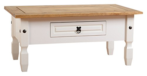 Seconique Corona 1 Drawer Coffee Table - White/Distressed Waxed Pine