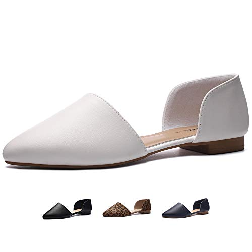 CINAK Flats Shoes Women| Pointed Toe Casual Ballet Comfort Open Side Slip on Loafers White