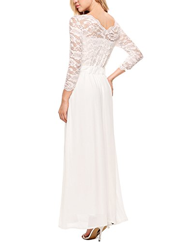 ACEVOG Women's Floral Lace 2/3 Sleeves Long Formal Evening Dress Maxi Dress