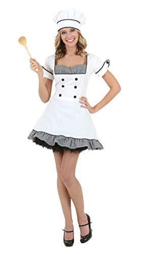 COSKING Cook Costume for Women, Deluxe Halloween Chef Cosplay Outfit (Tag Size-XS)