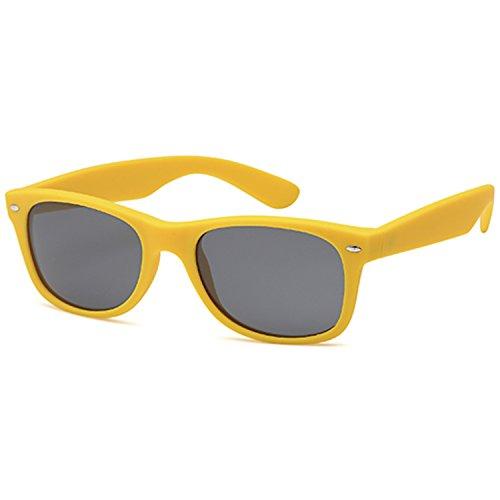 GAMMA RAY UV400 52mm Adult Classic Style Sunglasses – Gray Lens on Matte Yellow - Wayfarer Yellow