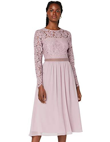 Vestido midi rosa palo
