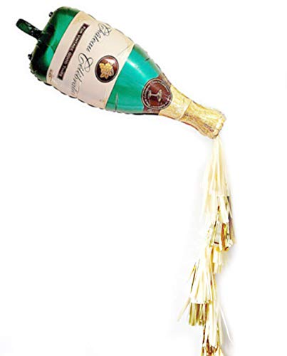 """Champagne Bottle Balloon Kit 40"""" Champagne Bottle Balloon & 3pcs Ivory Paper tassels & 3pcs Shiny Gold Tassels Ideal for Wedding Birthday Bridal Shower Party Decorations"""