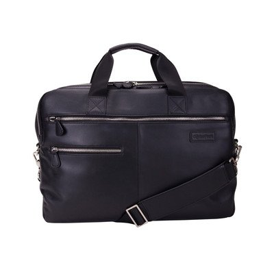 Genius Pack Luxe Leather Laptop Briefcase (Black)