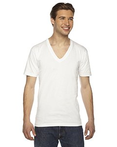 American Apparel Unisex Fine Jersey Short-Sleeve V-Neck T-Shirt - White - XS