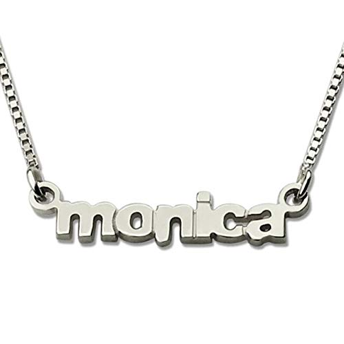 Gimax Wholesale Personalized Gold Color Mimi Name Necklace Nameplate Charm Custom Tiny Lowercase Letter Name Jewelry - (Metal Color: Silver Plated)