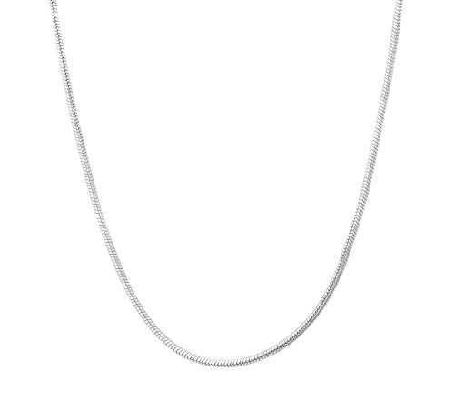 Verona Jewelers Sterling Silver 1.5MM 2MM Italian Solid Round Snake Chain Necklace-Sterling Silver Chain for Pendants, Magic Flexible Snake Chain (18-30) (20, 2.5MM)