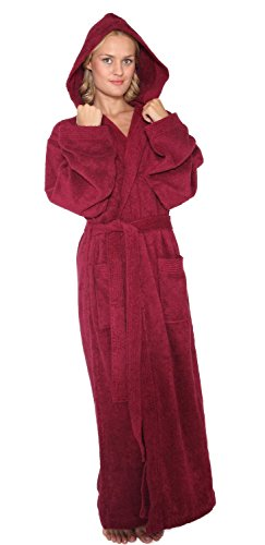 Arus Women's Pacific Style Full Length Hooded Turkish Cotton Bathrobe L Burgundy ()