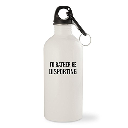 I'd Rather Be DISPORTING - White 20oz Stainless Steel Water Bottle with Carabiner by Molandra Products