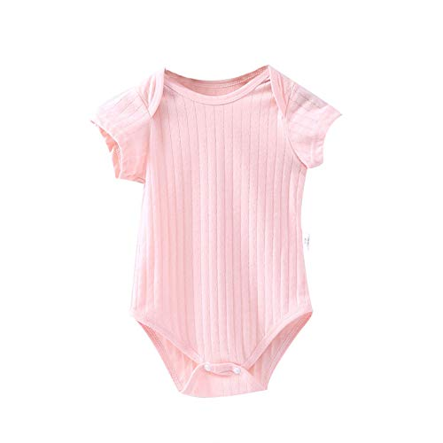 Fairy Baby Infant Baby Unisex Summer Bodysuit Cotton Thin One-Piece Romper Solid Creeper Size 6M (Shrimp Pink)