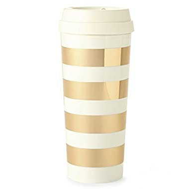 Kate Spade New York Thermal Travel Coffee Mug, 16oz, Gold Stripe