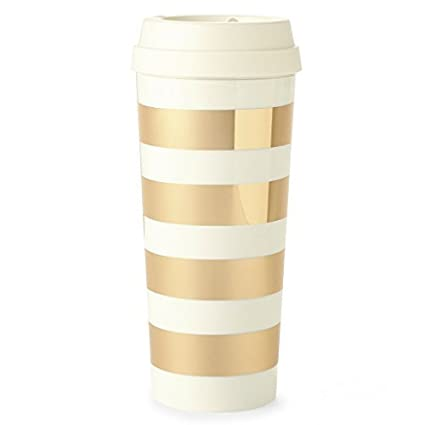 f5633c06424 Amazon.com: Kate Spade New York Thermal Travel Coffee Mug Tumbler, 16  Ounces, Gold Stripe: Kitchen & Dining