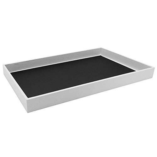 (White Leatherette Wrapped Jewelry Display Tray - 1