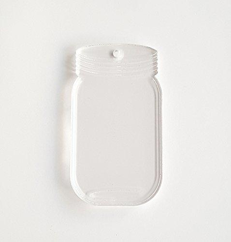 25 Acrylic Clear Keychains Blank Mason JAR SOTO 1/8