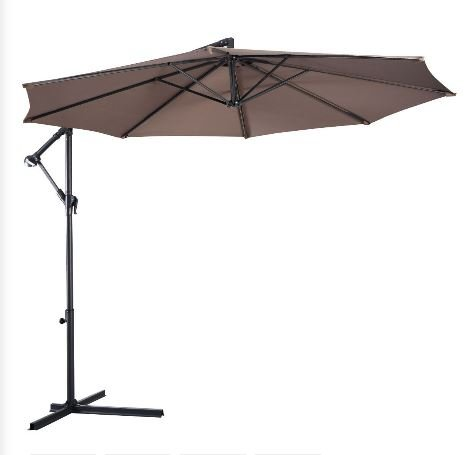 Patio Furniture-Patio Umbrella-Premium® Patio Furniture 10' Hanging Umbrella Patio Sun Shade Offset Outdoor Market W/ Cross Base Tan New