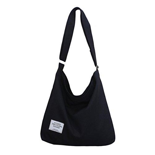 Fanspack Women's Canvas Hobo Handbags Simple Casual Top Handle Tote Bag Crossbody Shoulder Bag Shopping Work Bag Casual Purse